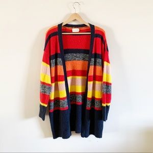 Dreamers   Striped Open Front Long Cardigan Large